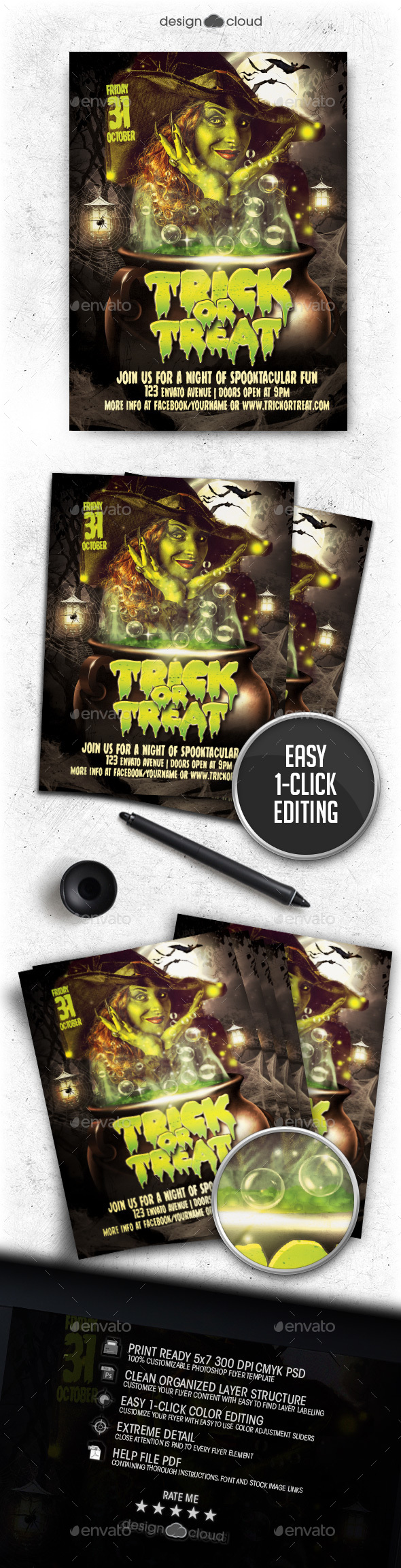 Trick or Treat Halloween Flyer Template