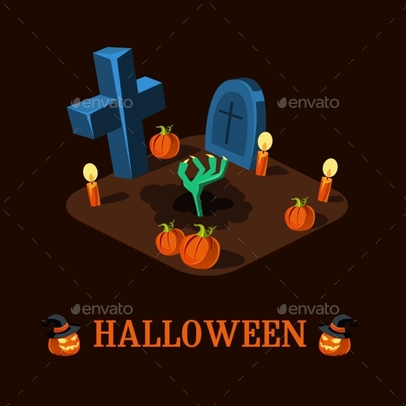 Cartoon Zombie Hand At Cemetery Halloween Vector - Halloween Seasons/Holidays