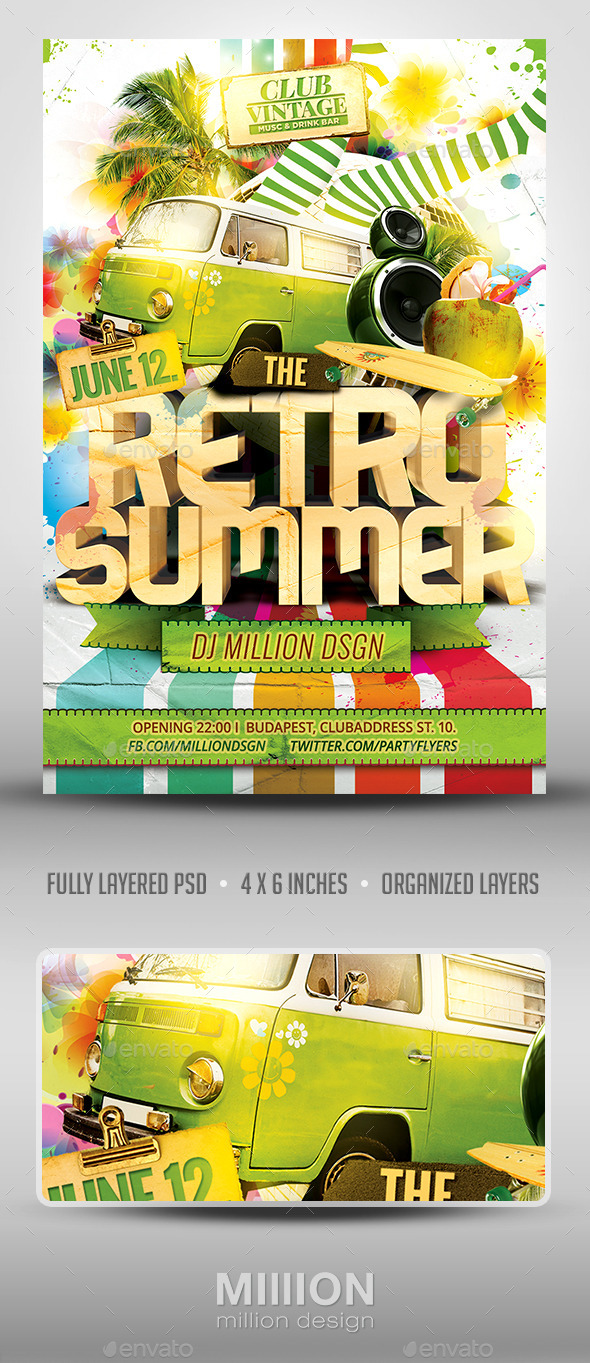Retro Summer Flyer - Clubs & Parties Events