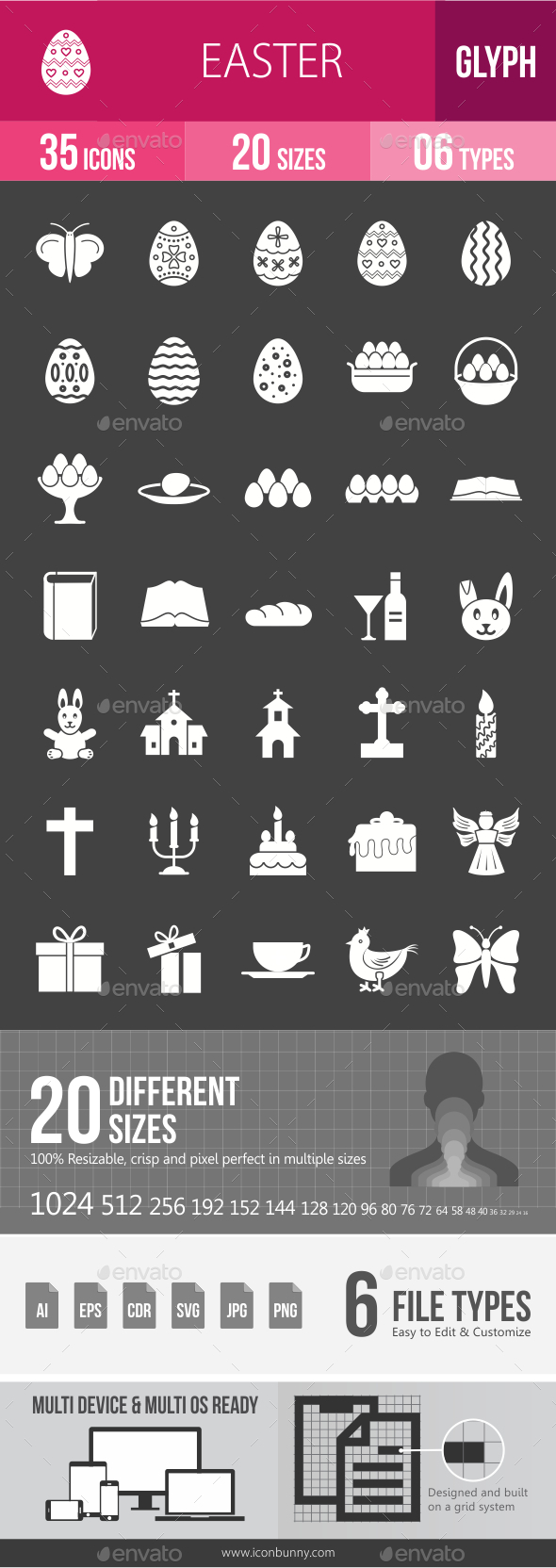 Easter Glyph Inverted Icons - Icons