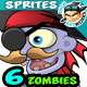 6 Pirate Zombies 2D Game Character Sprites - GraphicRiver Item for Sale