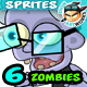 6 Zombies 2D Game Character Sprites - GraphicRiver Item for Sale