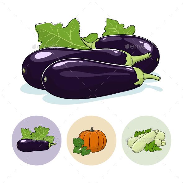 Icons Eggplant, Pumpkin, Zucchini - Food Objects