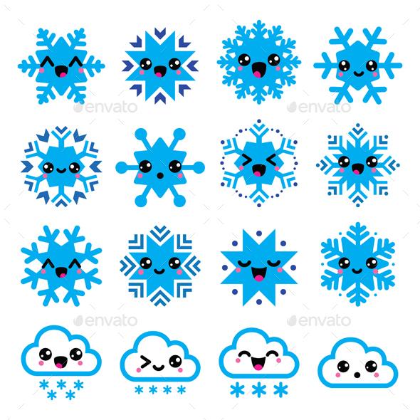 Kawaii Snowflakes Clouds with Snow Christmas