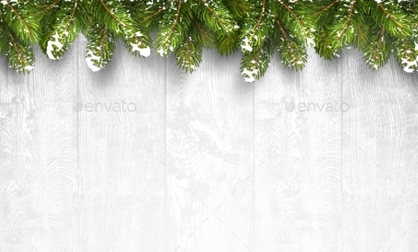 Christmas Wooden Background With Fir Branches - Christmas Seasons/Holidays
