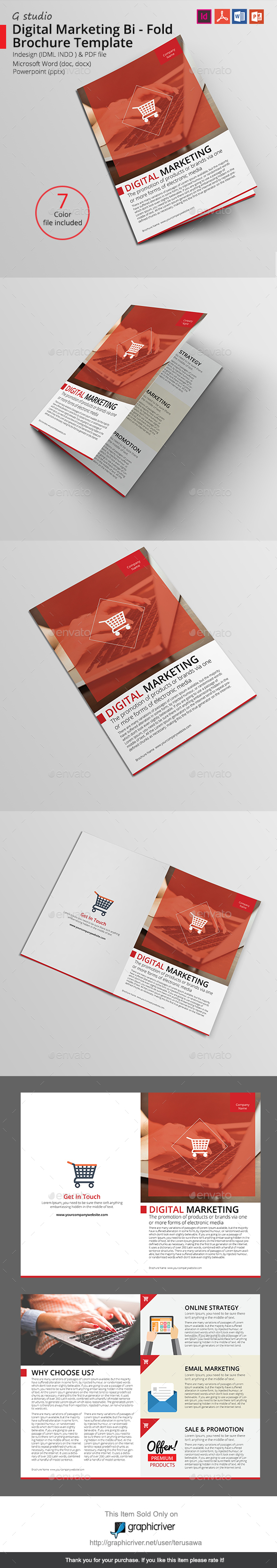 Digital Marketing Bi - Fold Brochure Template - Corporate Brochures