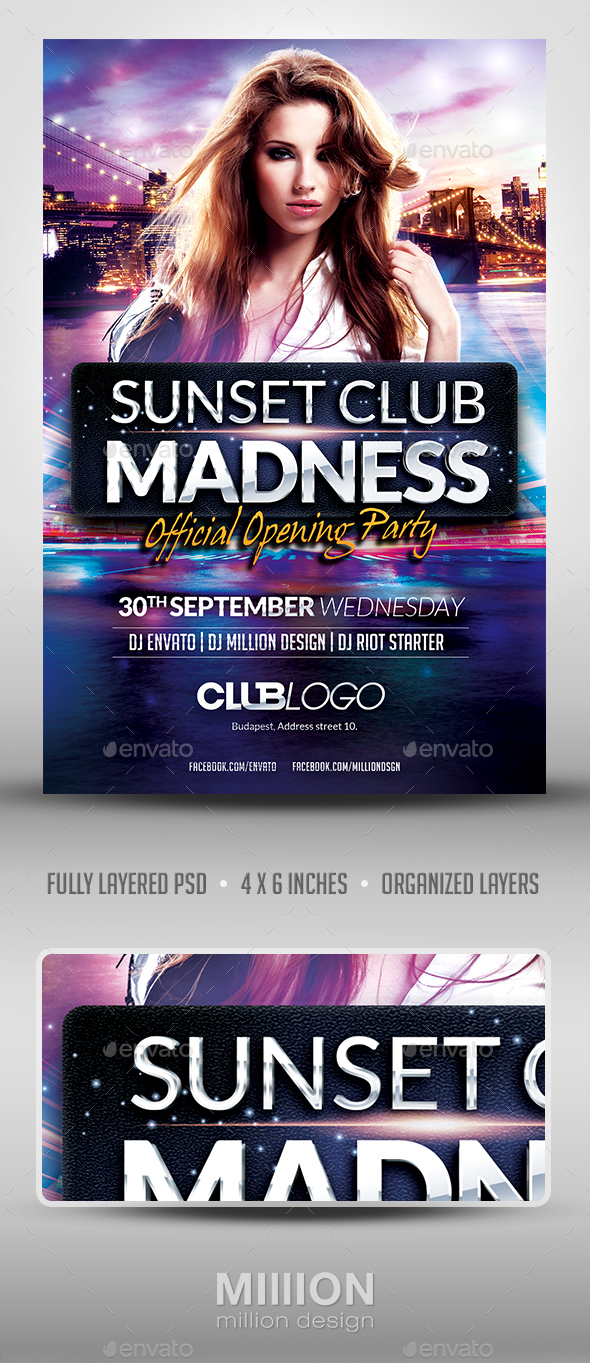 Sunset Club Madness Flyer Template - Clubs & Parties Events