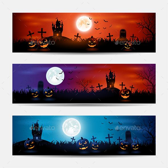 Halloween Banners with Castle - Halloween Seasons/Holidays