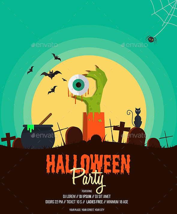 halloween party poster by graphics4u graphicriver rh graphicriver net halloween party poster 2018 halloween party poster template for kids