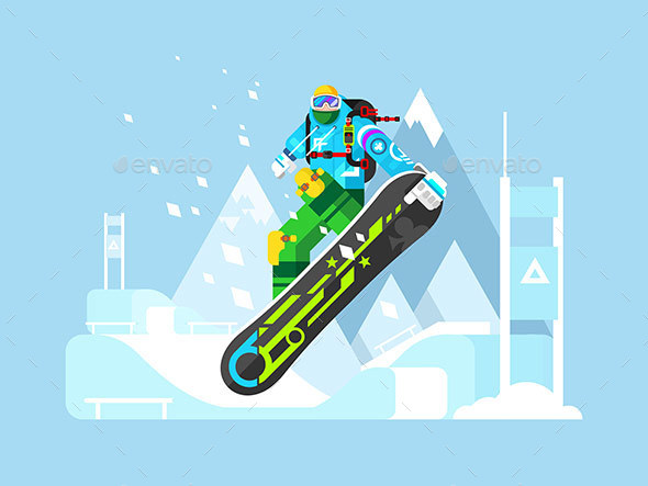 Snowboarder Cartoon Character  - Sports/Activity Conceptual