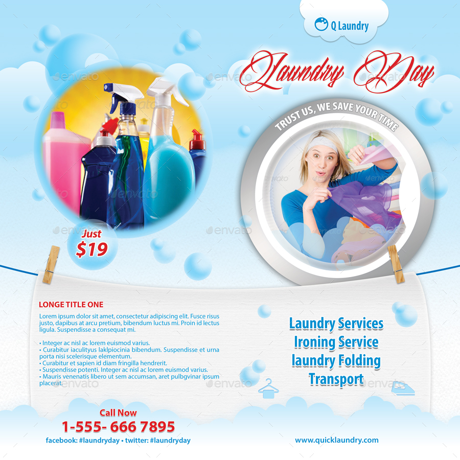 Laundry day bifold brochure template 05 by 21min for Laundry flyers templates