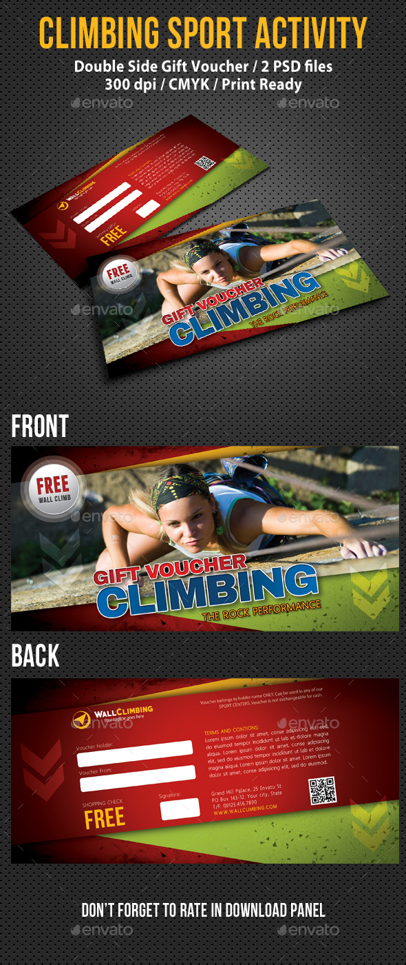 Climbing Sport Activity Gift Voucher - Cards & Invites Print Templates