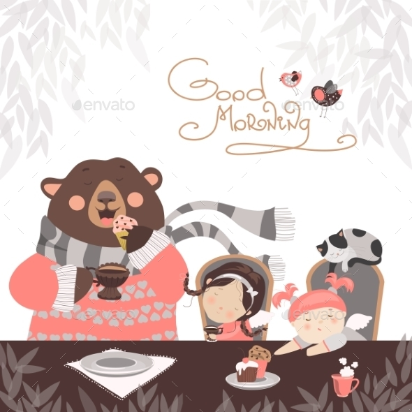 Girls Drinking Tea With a Cute Bear - People Characters