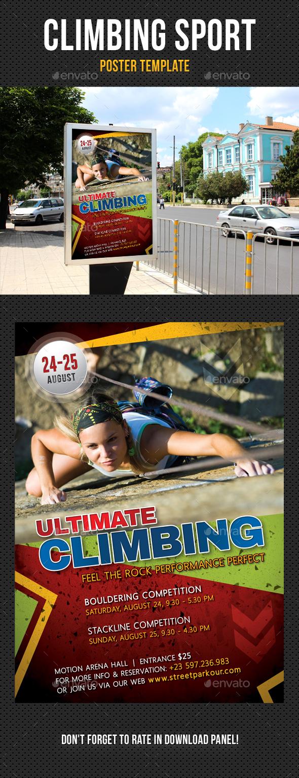 Climbing Sport Activity Poster Template - Signage Print Templates