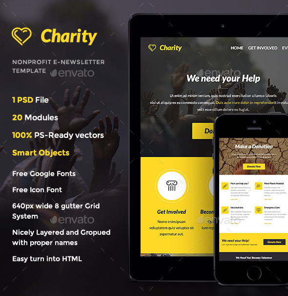 charity nonprofit e newsletter template by thememill graphicriver