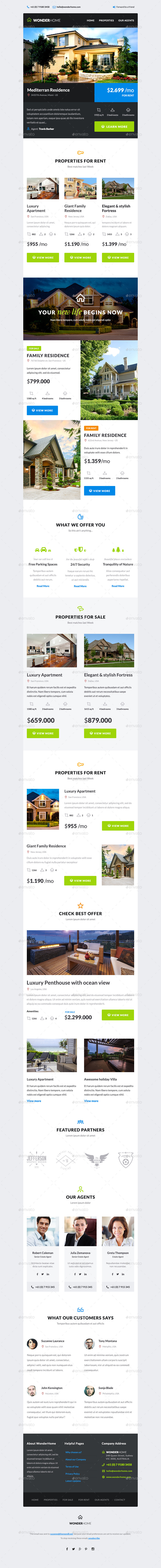 WonderHome   Real Estate E Newsletter Template   E Newsletters Web  Elements. 01_Preview ...