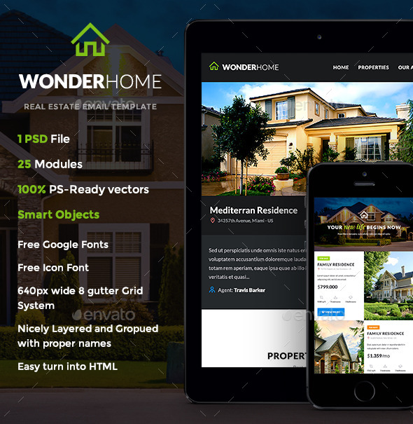 Attrayant WonderHome   Real Estate E Newsletter Template   E Newsletters Web Elements