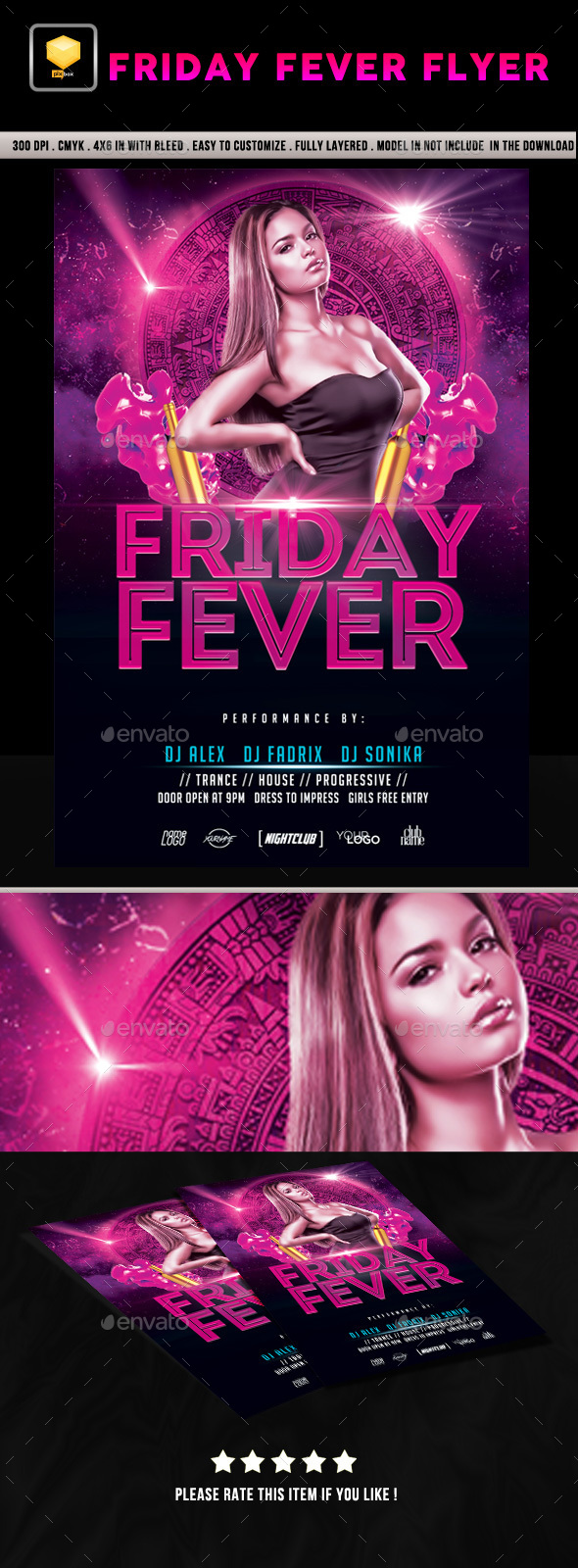 Friday Fever Flyer - Clubs & Parties Events