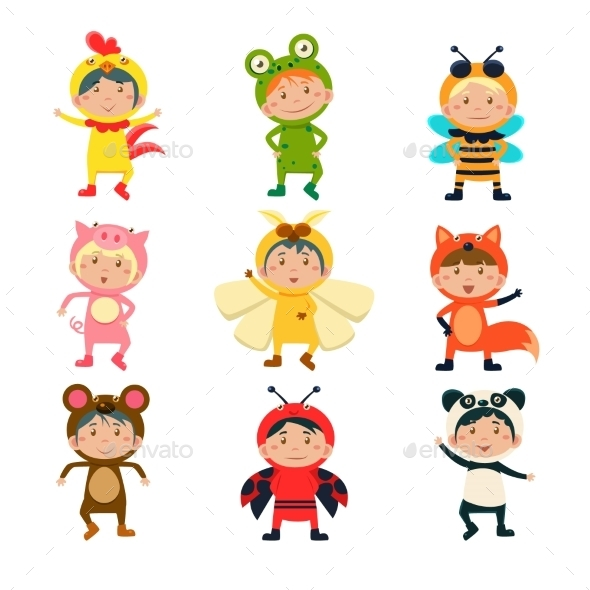 Cute Kids Wearing Animal Costumes - Animals Characters