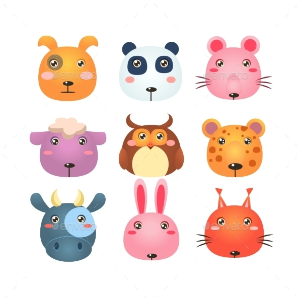 Set of Cartoon Animal Head Icons - Animals Characters