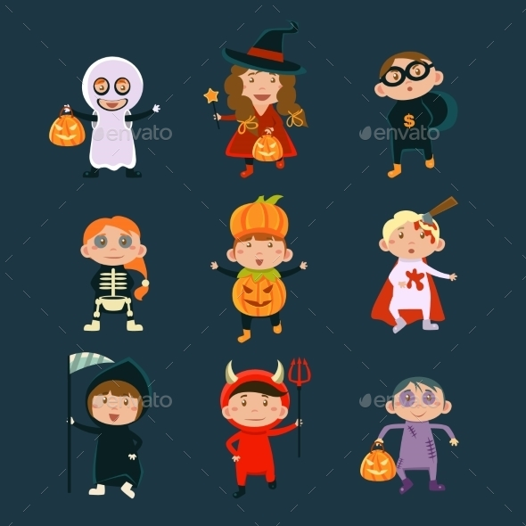 Children Wearing Halloween Costumes - Halloween Seasons/Holidays