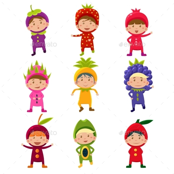 Children in Fruit and Berry Costumes - Monsters Characters