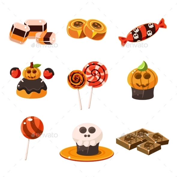 Colorful Traditional Halloween Sweets Vector - Halloween Seasons/Holidays