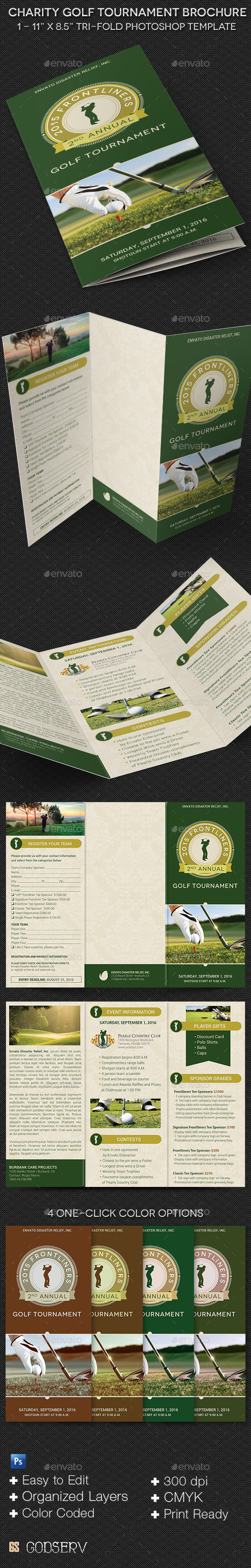 Charity Golf Tournament Brochure Template - Informational Brochures
