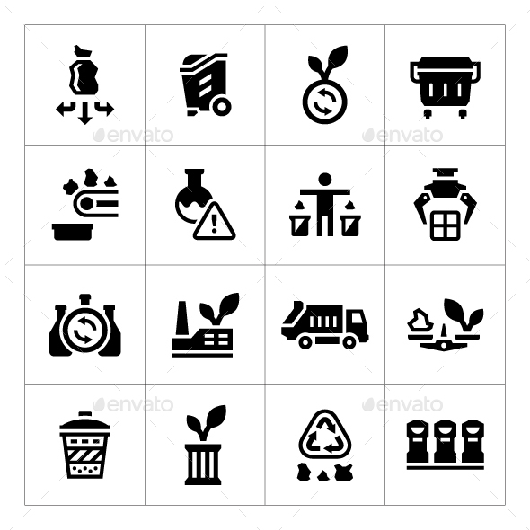Set Icons of Recycling - Man-made objects Objects