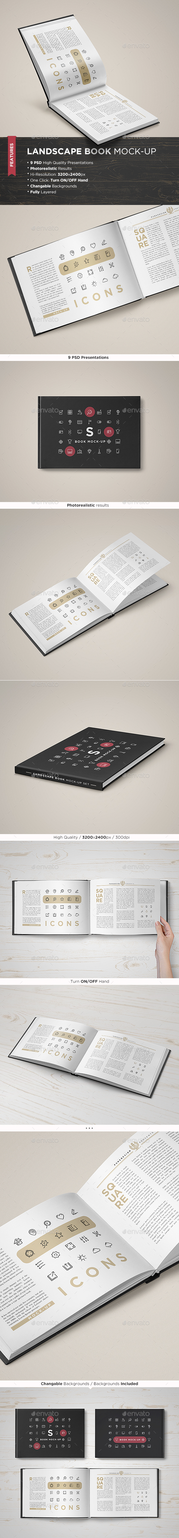 Landscape Book Mock-Up Set - Books Print