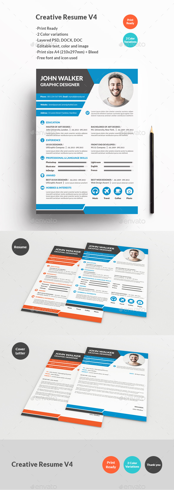 Creative Resume V4 - Resumes Stationery