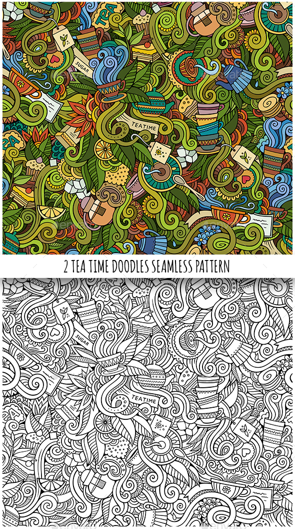 2 Tea Doodles Seamless Pattern