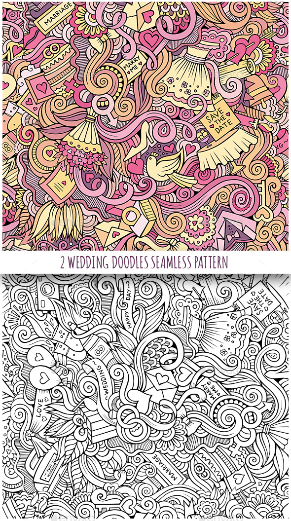 2 Wedding Doodles Seamless Patterns
