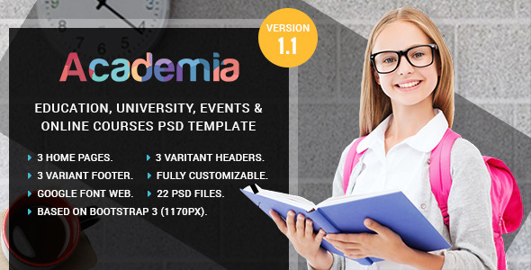Academia Education Course & Event PSD Template