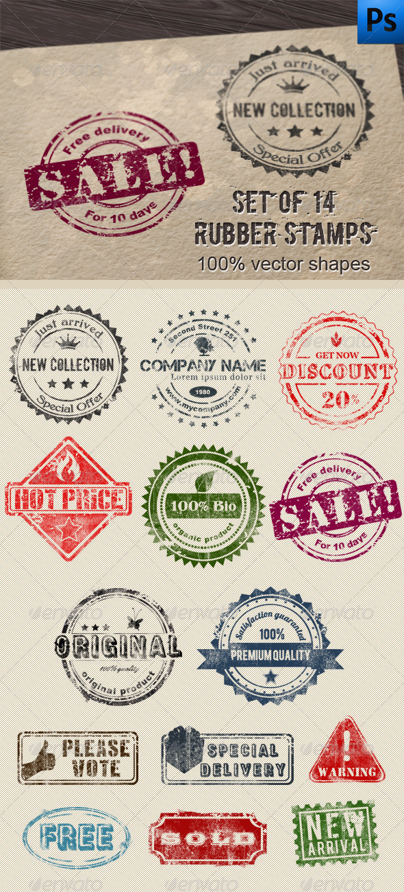 14 Editable Rubber Stamps - Badges & Stickers Web Elements