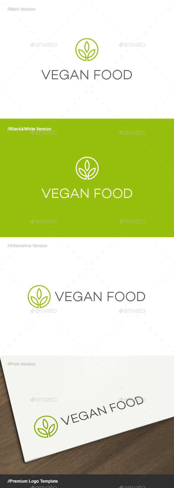 Vegan Food Herbal Symbol Logo