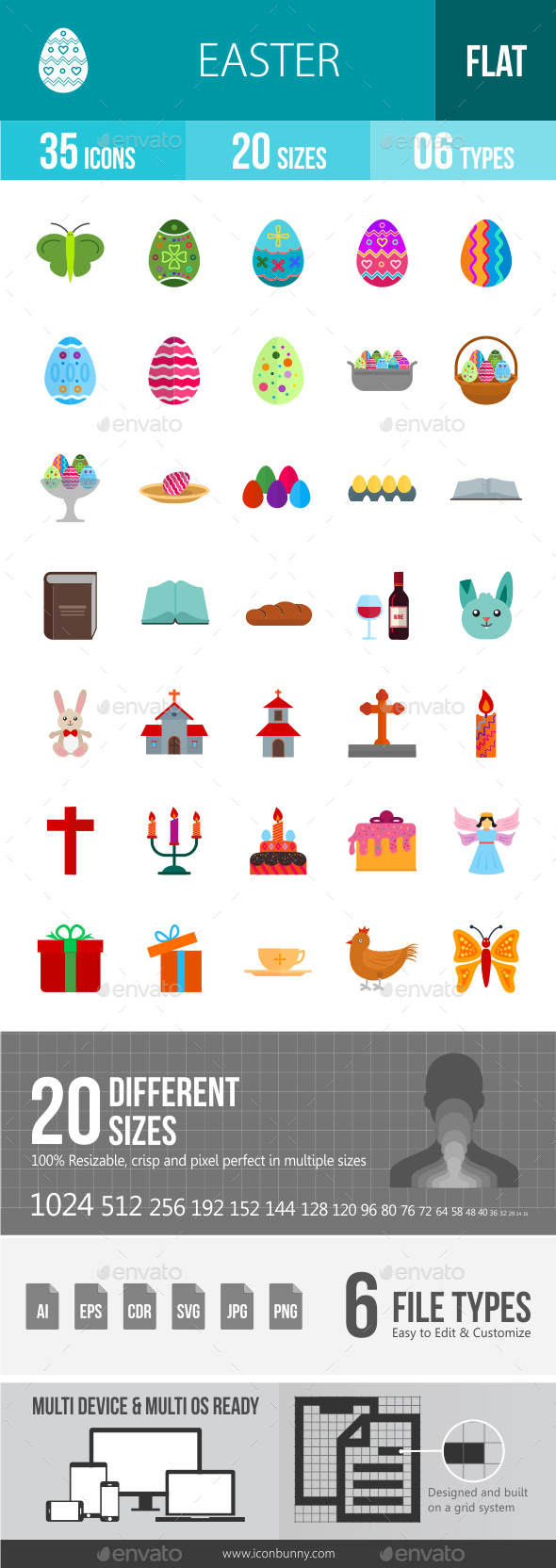 Easter Flat Multicolor Icons