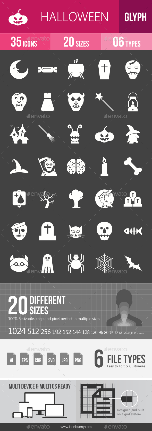 Halloween Glyph Inverted Icons