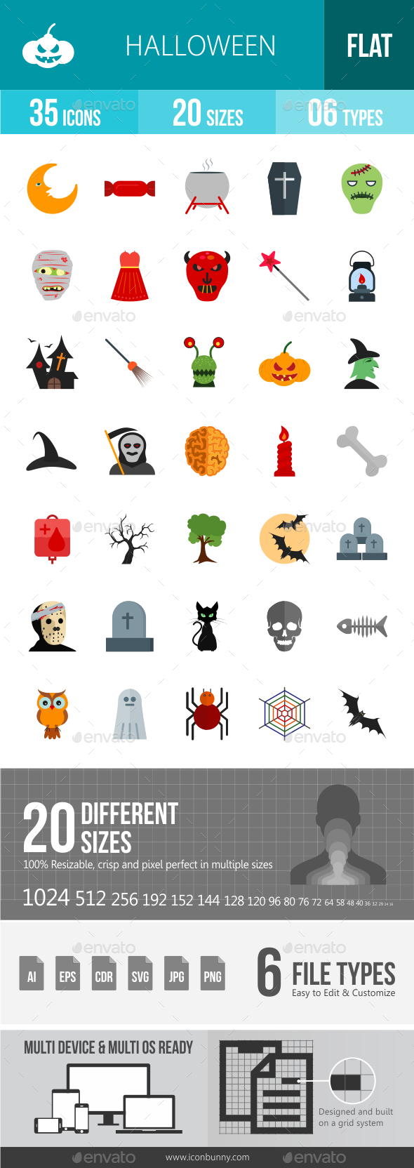 Halloween Flat Multicolor Icons
