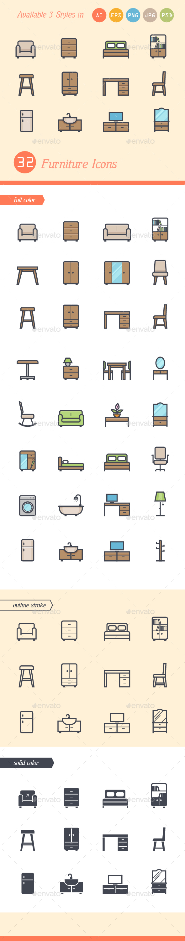 Set of 3 Styles Furniture Icons - Man-made objects Objects
