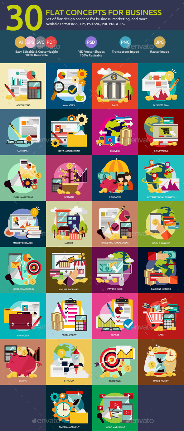 Flat Concepts for Business & Marketing - Business Conceptual