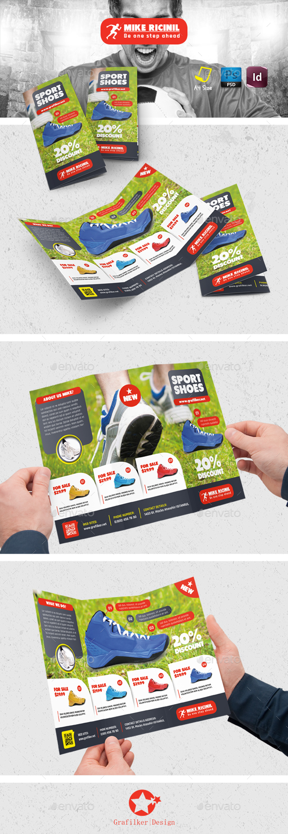 Sport Shoes Tri-Fold Templates - Brochures Print Templates