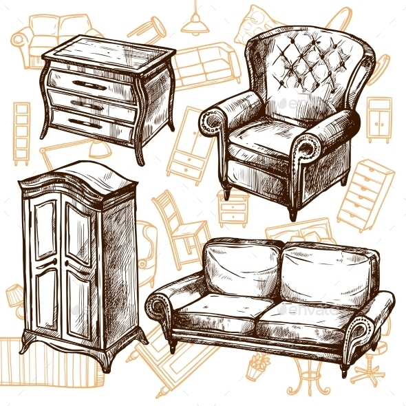 Furniture Sketch Seamless Concept  - Man-made Objects Objects