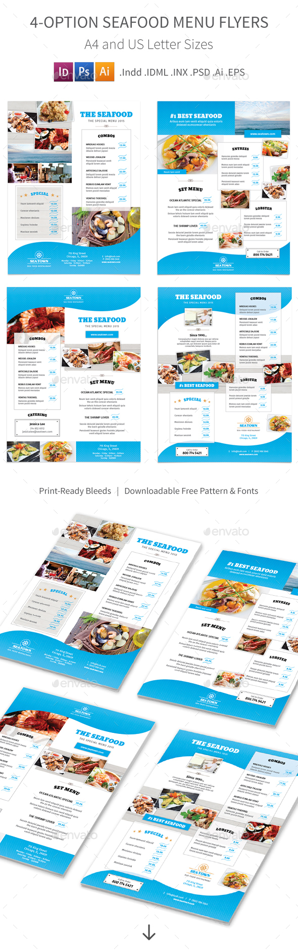 Seafood Restaurant Menu Flyers – 4 Options - Food Menus Print Templates