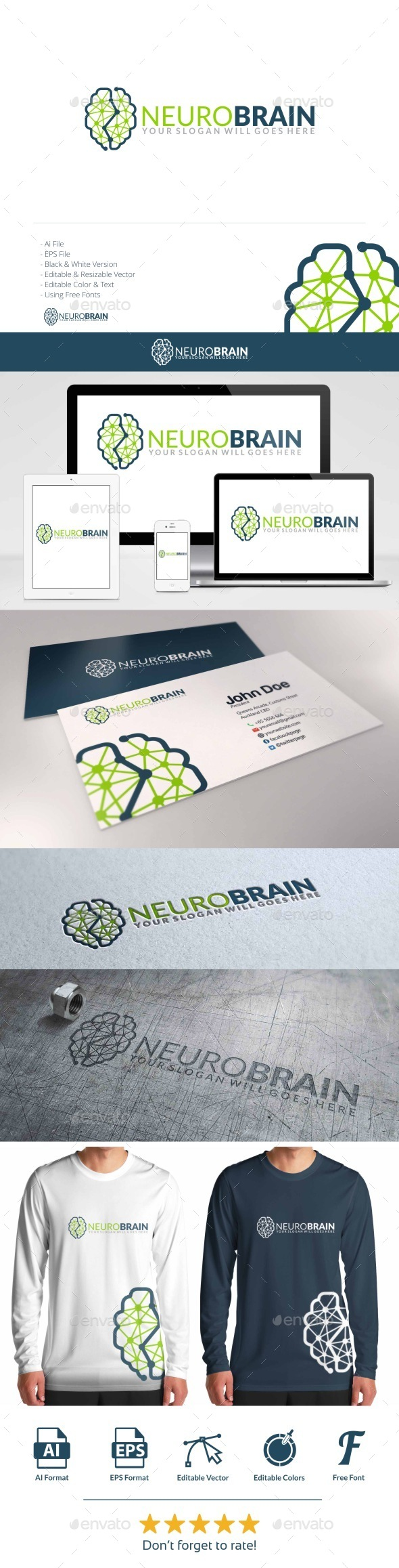 Neuro Brain Logo - Symbols Logo Templates