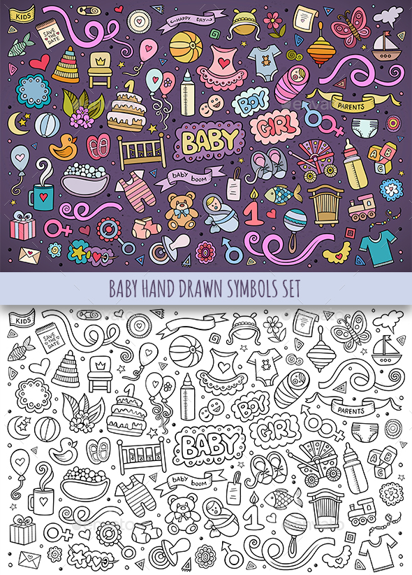 Hand Drawn Baby Doodles Symbols - People Characters