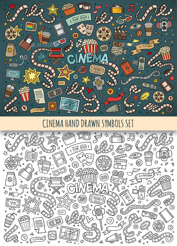 Hand Drawn Cinema Doodles Symbols - Media Technology