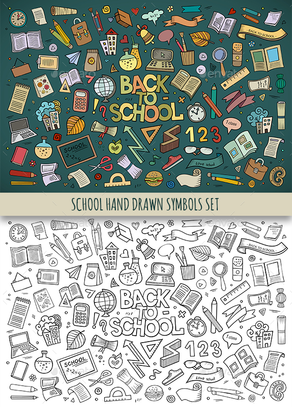 Hand Drawn School Doodles Symbols - Miscellaneous Conceptual