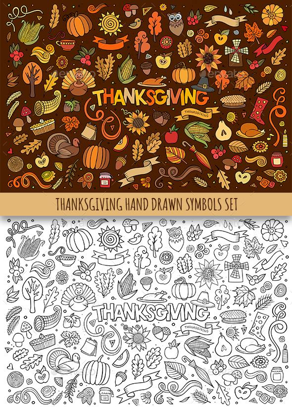 Hand Drawn Thanksgiving Doodles Symbols - Seasons/Holidays Conceptual