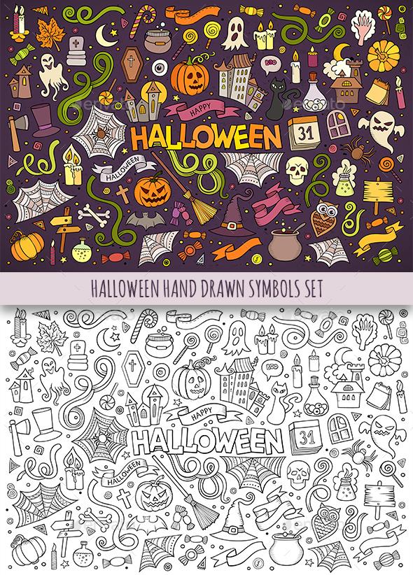 Hand Drawn Halloween Doodles Symbols - Halloween Seasons/Holidays